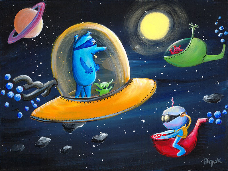 Bizarre but friendly aliens in their space ships somewhere out there in the space. Art for children.