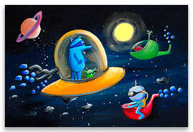 Bizarre but friendly aliens in their space ships somewhere out there in the space – children´s art.