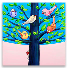 Birds on a tree children´s illustration.