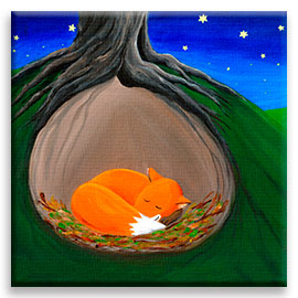 Little Fox | Peaceful Nursery CANVAS Image