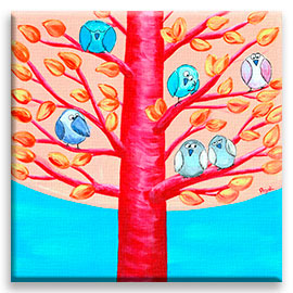 troop of funny birds resting among branches of a whimsical tree – original painting.