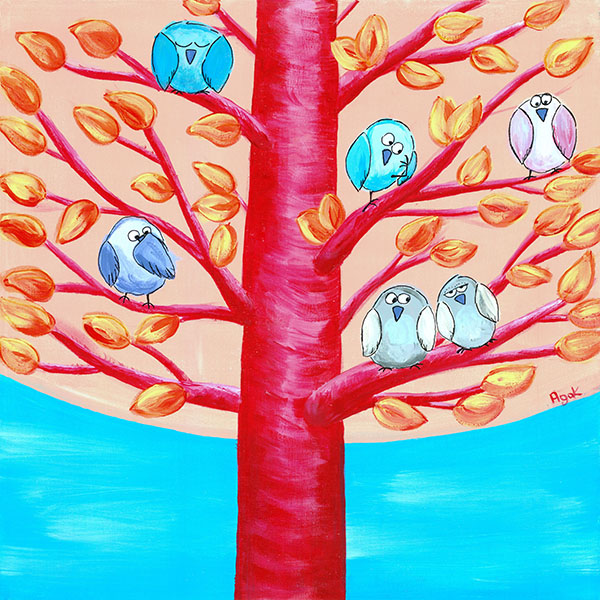 A troop of funny birds resting among branches of a whimsical tree. Original painting.