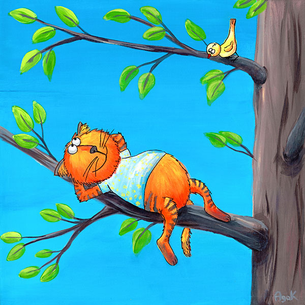 Funny red cat on a branch of a tree. Original art - gift for cat lovers.