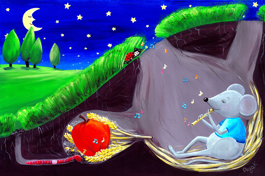 A little mouse musician lulls all the tiny creatures with his soothing melody. Children´s art.