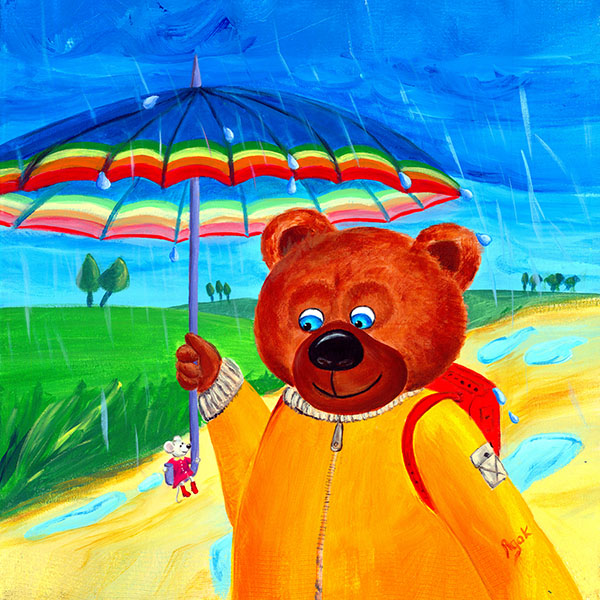 A big bear walking in a beautiful rainy summer day and a little mouse sitting on the handle of its umbrella. Art for kids.