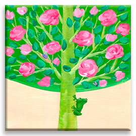 Rose Tree | Green Frog CANVAS Image