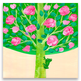 A little green frog observing a fly hidden among branches of a beautiful rose tree.
