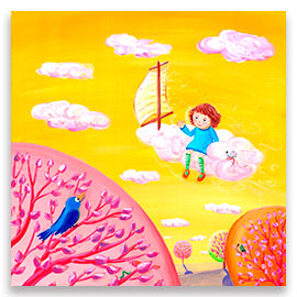 A little girl traveling on one of the pink clouds on a yellow sky, above branches of whimsical trees.