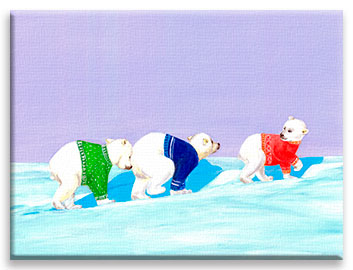 Snowy Trek | Little Polar Bears CANVAS Image