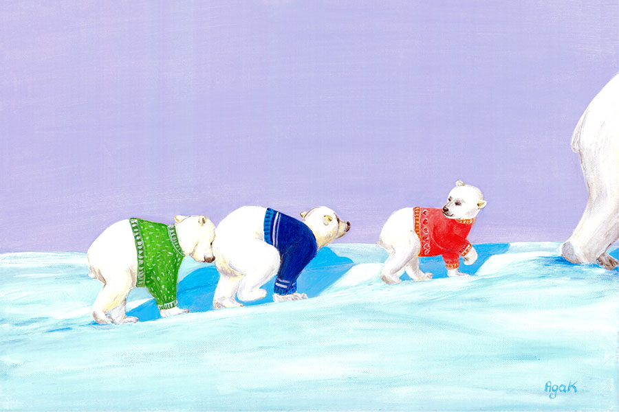 Three little polar bears in colorful sweaters, traversing endless snow areas. Cute wall art for children´s room.