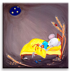 Little mouse sleeping in a cozy hole – nursery wall art poster.