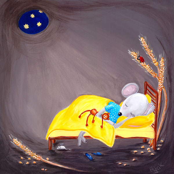 Little mouse sleeping in a cozy hole. Nursery wall art.