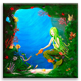 Underwater Friends | Beautiful Mermaid CANVAS Image