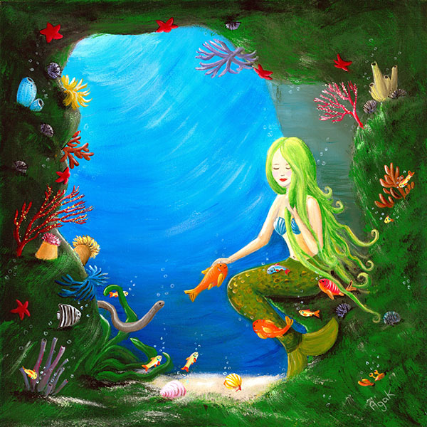 A beautiful mermaid resting in an underwater cave, surrounded by a crowd of little sea creatures.