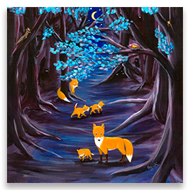Midnight Walk | Dreamy Fox Family POSTER Image