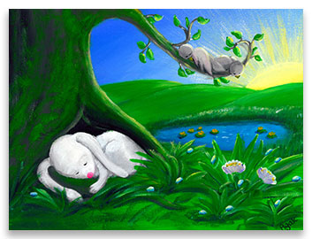 White rabbit sleeping in a shade of a tree - children´s art.