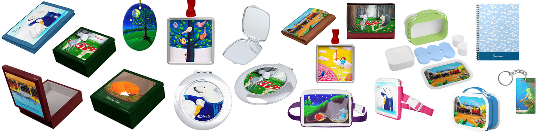 Different gift ideas for kids: keepsake boxes, mirrors, wallets, notebooks, bags, ornaments, etc.