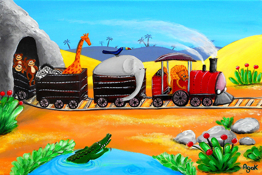 Jungle animals traveling in a train. Nursery wall art poster.