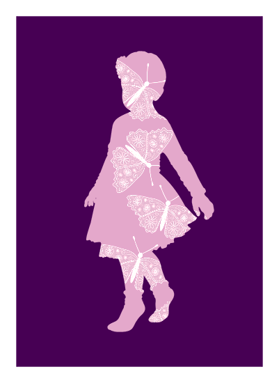 Shape of a little girl overlayed with subtle butterflies, on a vivid, purple background.