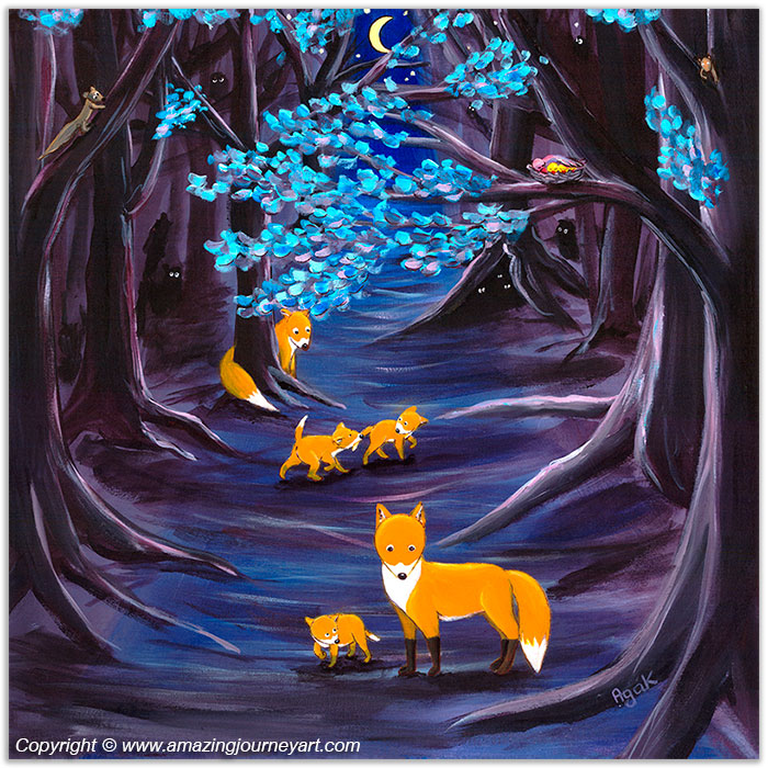 Fox family on a night walk in a mysterious forest – wall art poster.