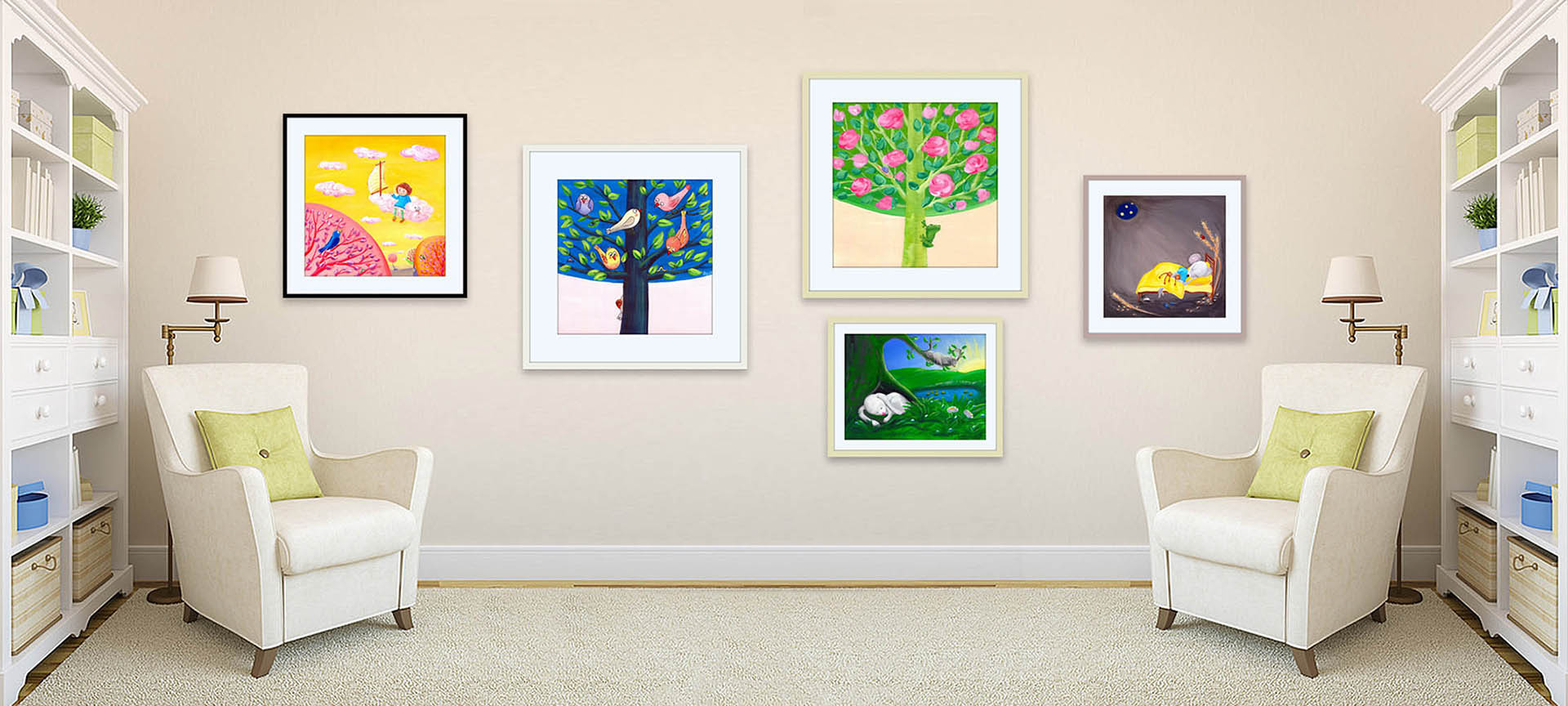 Colorful kids wall art pictures in a light interior.