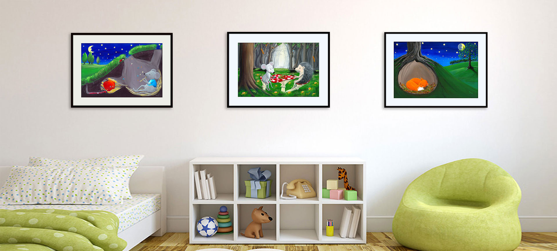 Kids bedroom with three woodland themed pictures on a wall.