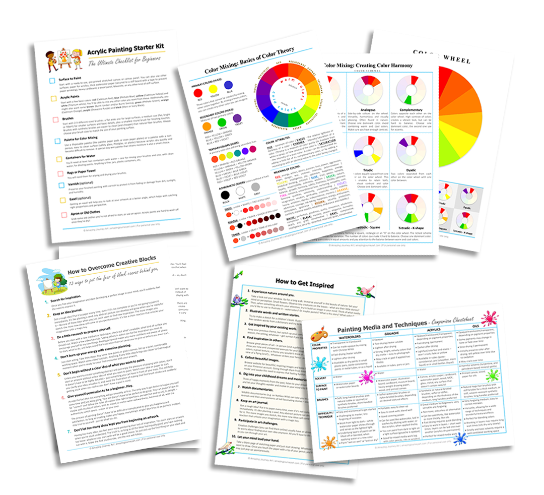 Artists Toolkit - free printable pages.