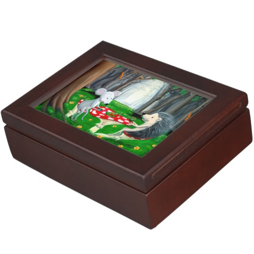 A memory box with dimensions 6.5 x 8.5 x 2.75 inches. Made with mahogany -colored wood. Interior lined with a black velvet-like fabric. Printed in full color on both sides of the lid.