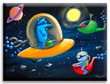 Funny aliens wall art for kids room. | Outer space nursery décor.