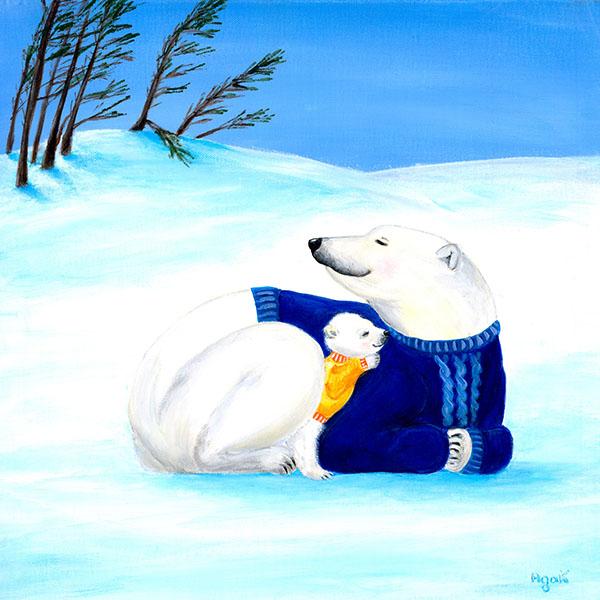 A baby polar bear sleeping quietly snuggled in its mom. Cute nursery wall art.