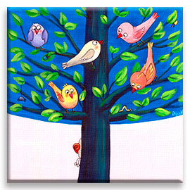 Birds on a tree children´s illustration.