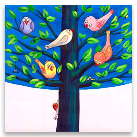 Birds on a tree children´s painting.