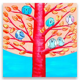 A troop of funny birds resting among branches of a whimsical tree – original painting.