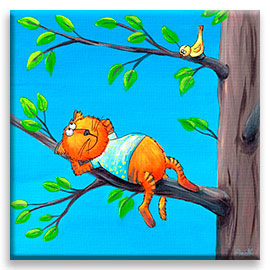 Funny red cat on a branch of a tree – children´s art.