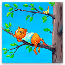 Red cat on a branch of a tree – children´s art.