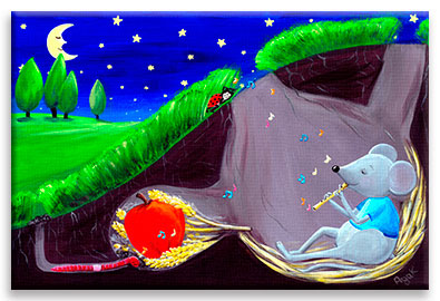 A little mouse musician lulls all the tiny creatures with his soothing melody – dreamy children´s art.