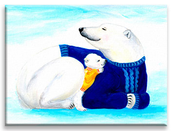 A baby polar bear sleeping quietly snuggled in its mom – a children´s illustration.