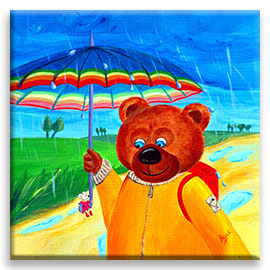 A big bear walking in a beautiful rainy day and a little mouse sitting on the handle of its umbrella – children´s art.
