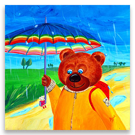 A big bear walking in a beautiful rainy summer day and a little mouse sitting on the handle of its umbrella – children´s art.