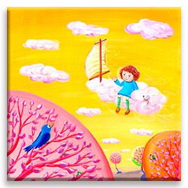Sweet pink and yellow wall art for girl´s room. | Little girl travelling on a cloud - nursery décor poster.