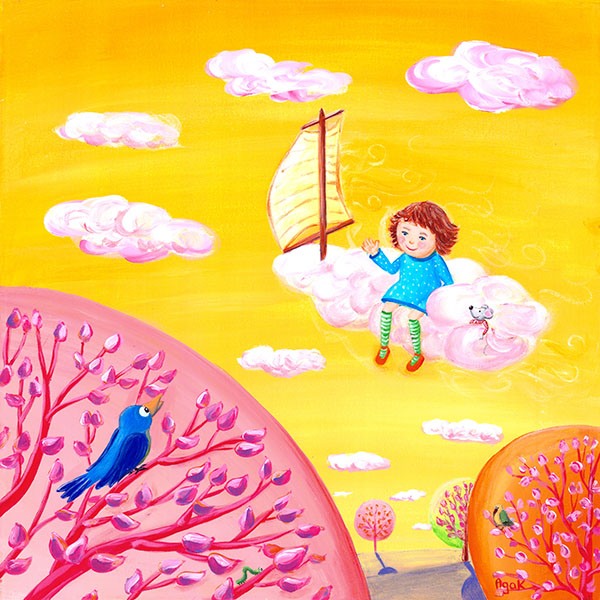 A little girl traveling on a pink cloud, above branches of whimsical trees.