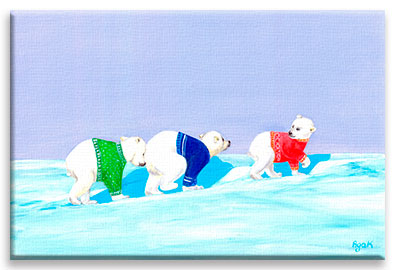 Three little polar bears in colorful sweaters, traversing endless snow areas in search of their lost mom.
