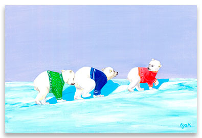 Three little polar bears in colorful sweaters, traversing endless snow areas – children´s art.