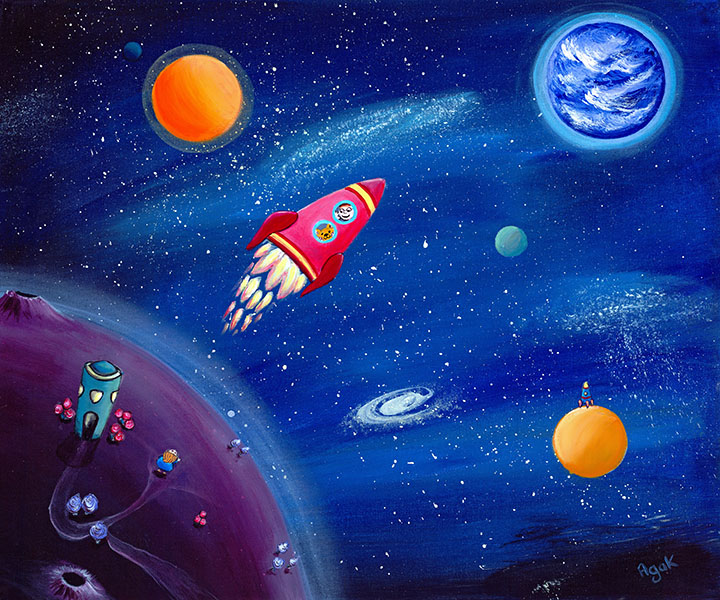 A little boy and his cat in their adventurous space travel in a red rocket. Art for kids.
