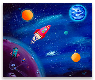 A little boy and his cat in their adventurous space travel in a red rocket – children´s art.