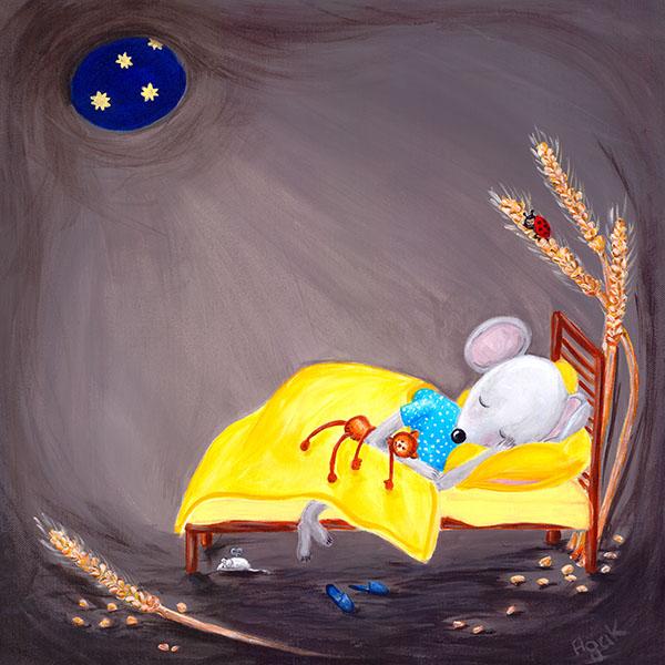 Little mouse sleeping in a cozy hole. Nursery wall art.