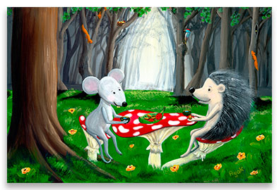 Forest animals, a mouse and a hedgehog, by a cup of morning dew - children´s art.