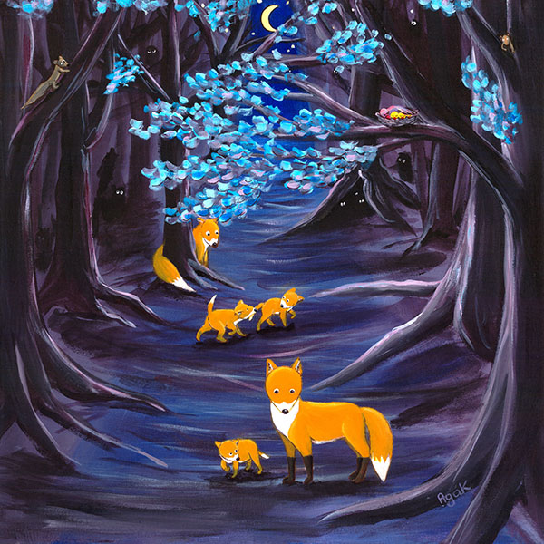 Fox family on a night walk in a mysterious forest. Original blue and purple wall art.