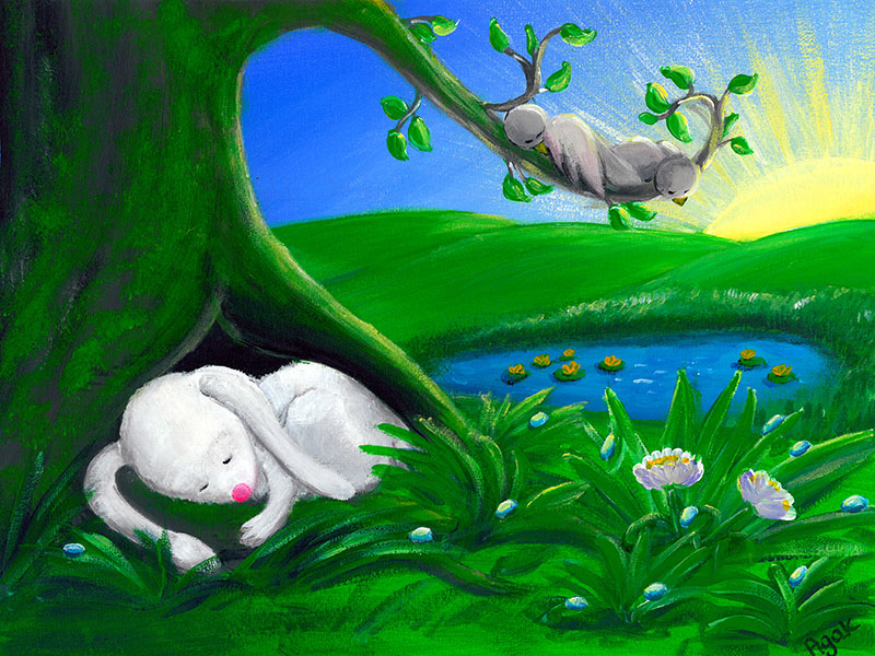 White rabbit sleeping in a shade of a tree. Children´s art.