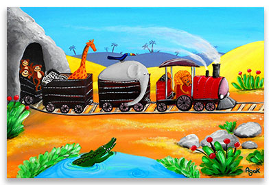 Jungle animals traveling in a train – nursery wall art poster.
